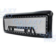 08-10 Ford Super Duty Rivet Black SS Mesh Grille+Black Shell+LED+LED Light Bar