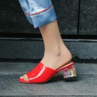 Womens Patent Leather Platform Open Toe Block Heel Shoes Slip On Sandals Slipper