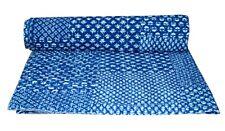 Indian Handmade Vintage Kantha Quilt Bedspread Throw Cotton Blanket Indigo Print