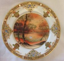 "Antique Nippon Hand Painted Enamel and Raised Gold - 7.5"" Plate"