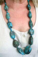 Authentique unique collier sautoir de perles gemme turquoise bijou vintage
