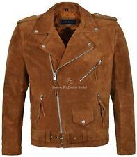 Brando Men's Real Leather Jackets TAN Suede Fringe Biker Motorcycle Style MBF
