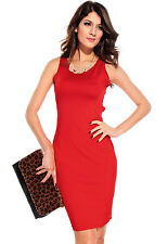 Charlie Cut Out Hollow Out Back Sleeveless Solid Night Club Party Midi Dress Red