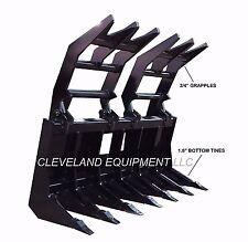 """NEW 84"""" SEVERE-DUTY ROOT GRAPPLE RAKE ATTACHMENT Skid-Steer Loader Brush Log 7'"""