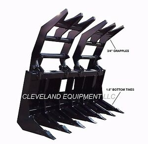 """72"""" SEVERE-DUTY ROOT GRAPPLE RAKE ATTACHMENT New Holland Case Skid-Steer Loader"""