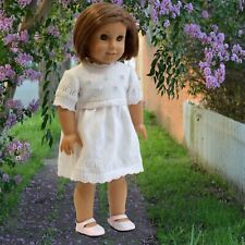 White Sweater Dress with Embroidered Pink Flowers for 18inch Dolls American Girl