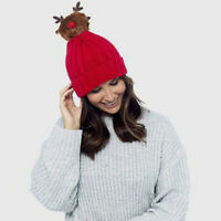 Adult Knitted Red Novelty Christmas Beanie Hat with Rudolf Pom Pom Bobble