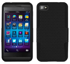 BLACK MESH HYBRID HARD/SOFT SKIN CASE COVER FOR BLACKBERRY Z10