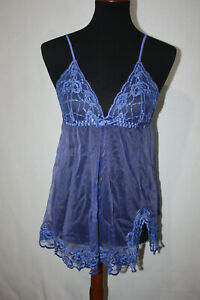 FREDERICKS OF HOLLYWOOD Sz S Blue Baby Doll Lace Sheer Mesh Negligee Lingerie