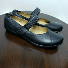 Hotter Alicia Black Leather Mary Jane Comfort Shoes Women Sz US 11 EXF Wide Fit