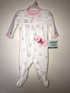 Carters Infant Girls White Polar Bear Holiday Sleeper Pajama Sleep & Play