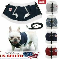 New Dog Pet Warm Fleece Clothes Cat Reflective Vest Puppy Coat Jacket +Leash
