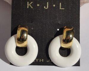 KENNETH JAY LANE KJL Gold Plated WHITE Resin Small Door Knocker Earrings NEW