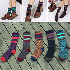 5 Pairs Winter Warm Women Stripe Knitted Crochet Cotton Soft Thick Long Soc UKP