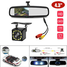 """4.3"""" LCD Electronic Auto Dimming Car Rear View Mirror Monitor Rear 12 LED Camera"""