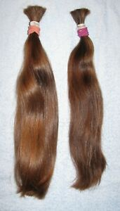 HUMAN HAIR TWO WAVY PONYTAILS FROM TWO FEMALE HAIRCUTS 2.7ozs REBORN DOLLS H65