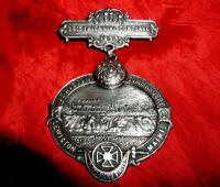 SALE! BOSTON MAINE Antique FINE Silver KNIGHTS TEMPLAR JEWEL 1895 Event! MASONIC