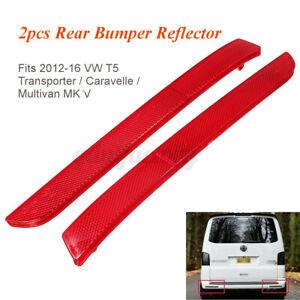 For VW Transporter T5 2012-16 Red Lens Rear Bumper Reflector Assembly Light L+R