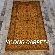 YILONG 3'x5' Handknotted Silk Carpet Washed Gold Home Interior Area Rug G64C