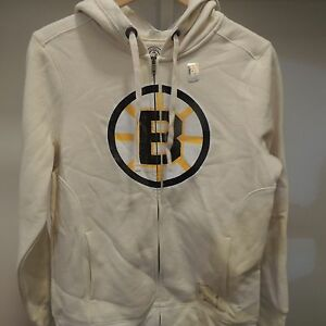 NHL Authentic Boston Bruins Retro Sport Zip Hooded Sweatshirt New Womens LARGE