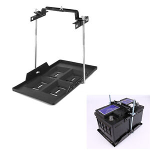 Universal Car Storage Battery Holder Adjustable Tray+Hold Down Clamp Bracket Kit