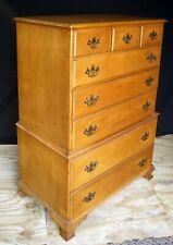 Vintage Antique Old Beals SOLID Maple Wood Wooden Dresser Highboy Chest 8 Drawer