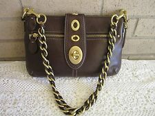 Coach Lily Brown LTHR Purse 13756 Chain Braid Legacy Ltd Ed $398 NWOT
