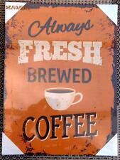 Siempre fresco café Amarillo Vintage / Retro Lona Impresión 40cm X 30cm