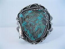 Lot 60 - BIG Vintage Navajo Sterling Silver Bracelet w Turquoise