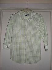 Women's Lands' End 3/4 Sleeve Button Down Shirt size 8 White & Green