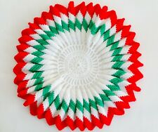 """VINTAGE HAND KNITTED CHRISTMAS TABLETOP CENTERPIECE GREEN RED WHITE RUFFLED 19"""""""