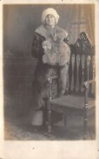 1910s RPPC Real Photo Postcard Girl Woman Lady In Fur Coat and Muff