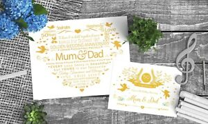 Personalised 50th GOLDEN Wedding Anniversary For Mum and Dad For Parents & Card