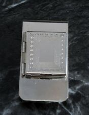 VTG  Etched Silver Plated Brass Locket Picture Frame Compartment Money Clip NOS