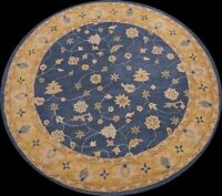 NAVY BLUE Floral Traditional Oriental Area Rug Wool Hand-tufted 8x8 Round Carpet