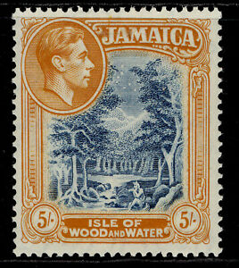 JAMAICA GVI SG132, 5s slate-blue & yellow-orange, NH MINT. Cat £20. PERF 14