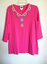 DG2 DIANE GILMAN..TEE..HOT PINK WITH BLING..S..LONG FLARED SLEEVE..COTTON