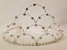 Rhinestone TIARA Sparkly Attached Metal Combs Dainty Headband