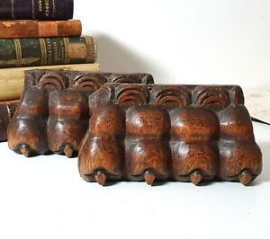 17 th C Antique wood furniture leg foot pair carving French salvaged sculpture