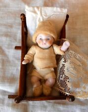 Tiny Antique German All Bisque Dollhouse Candy Baby &Cradle/Bedding Orig Clothes