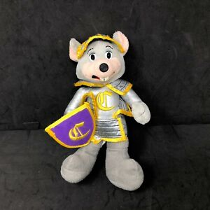 "Chuck E Cheese Knight Plush Gray Mouse 2008 Stuffed Animal 10"" Toy Purple Shield"