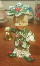 Vintage RARE Napco Christmas Holly Berry Bell Pixie Boy Salt Shaker Figurine