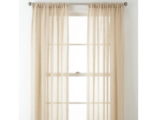 """JCPenney Home Bayview Sheer Rod-Pocket 1 Single Curtain Panel 50""""w x 108""""L Linen"""