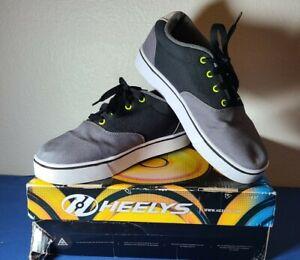 Heelys Kids Launch Black/Lime/Gray Skate Shoe Sz Youth 8 Canvas W Box See Info