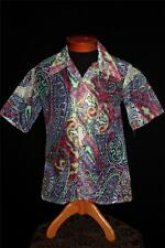 RARE VINTAGE 1970'S WAFFLE COTTON PAISLEY SEE THROUGH SHIRT SIZE MEDIUM