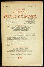 La Nouvelle revue française 1er mars 1953  TBE