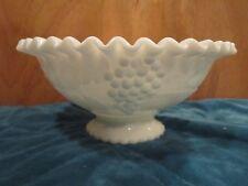 Fruit Bowl White Milk Glass Grape Leaf Designs Pie Crust Edge