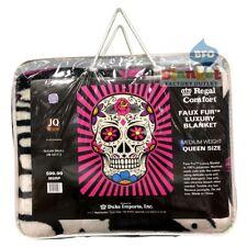 "Sugar Skull Queen Size faux fur blanket 79"" x 96"" NEW"