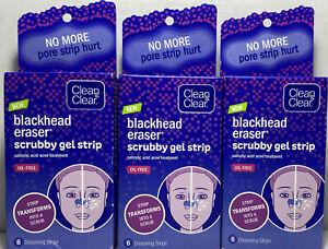 3 Boxes Clean & Clear Blackhead Eraser Scrubby Gel Strips  6 Count Box