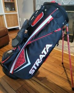 New Callaway Strata Red/Black/White Stand Golf Bag Rain Cover 7 Way Divide